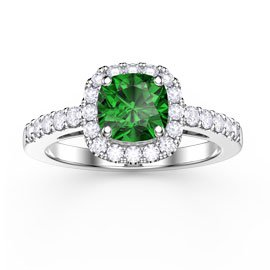 Princess Emerald Cushion Cut Halo Platinum plated Silver Promise Ring