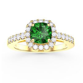 Princess Emerald Cushion Cut Halo 18ct Gold Vermeil Promise Ring