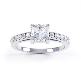 Unity White Sapphire 18ct White Gold Cushion Cut Pave Proposal Ring