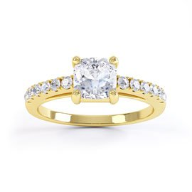 Unity White Sapphire 18ct Yellow Gold Cushion Cut Pave Proposal Ring