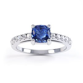Unity Sapphire and Diamond Cushion Cut Pave Platinum Engagement Ring