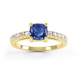 Unity Sapphire Cushion Pave Set 18ct Gold Vermeil Promise Ring