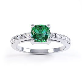 Unity Emerald and Diamond Platinum Cushion Cut Pave Engagement Ring