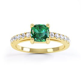 Unity Emerald 18ct Gold Vermeil Cushion Cut Pave Promise Ring
