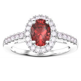 Eternity Ruby Oval Halo Platinum plated Silver Promise Ring