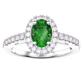 Eternity Emerald and Diamond Oval Halo Platinum Engagement Ring