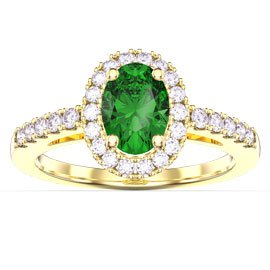 Eternity Emerald Oval Halo 18ct Yellow Gold Engagement Ring