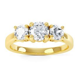 Eternity Three Stone White Sapphire 18ct Gold Vermeil Promise Ring