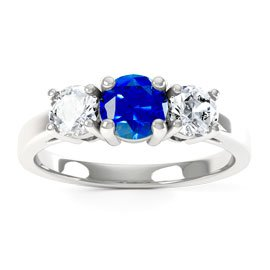 Eternity Three Stone Sapphire and Diamond Platinum Engagement Ring