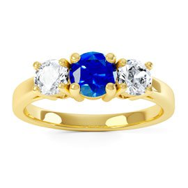 Eternity Three Stone Sapphire 18ct Yellow Gold Engagement Ring