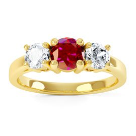 Eternity Three Stone Ruby 18ct Gold Vermeil Promise Ring