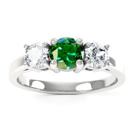 Eternity Three Stone Emerald Platinum plated Silver Promise Ring