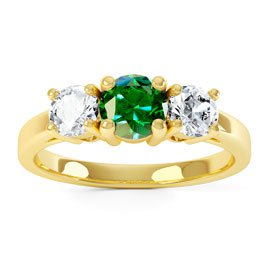 Eternity Three Stone Emerald 18ct Yellow Gold Proposal Ring