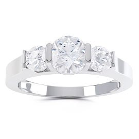 Unity Three Stone Diamond Platinum Engagement Ring