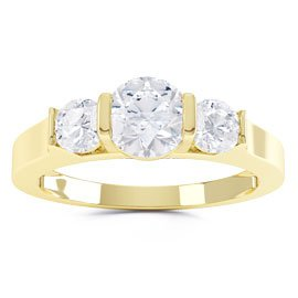Unity Three Stone White Sapphire 18ct Gold Vermeil Promise Ring