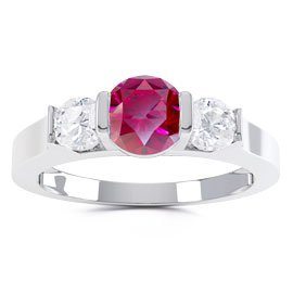 Unity Three Stone Ruby Platinum plated Silver Promise Ring