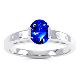 Unity Sapphire Oval Platinum plated Silver Promise Ring