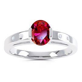 Unity Ruby Oval Platinum plated Silver Promise Ring