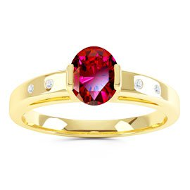 Unity Ruby Oval 18ct Gold Vermeil Promise Ring