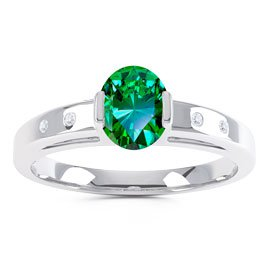 Unity Emerald Oval Platinum plated Silver Promise Ring