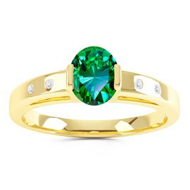 Unity Emerald Oval 18ct Gold Vermeil Promise Ring