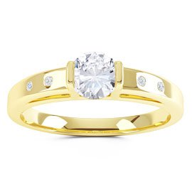 Unity White Sapphire 18ct Yellow Gold Proposal Ring