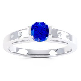 Unity Sapphire Platinum plated Silver Promise Ring