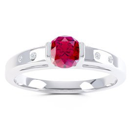 Unity Ruby Platinum plated Silver Promise Ring