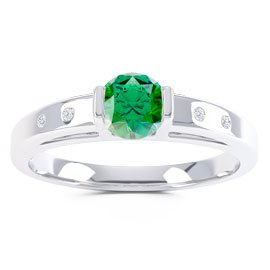 Unity Emerald Platinum plated Silver Promise Ring