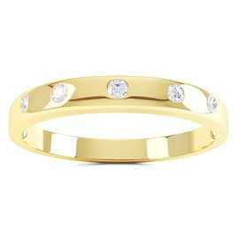 Unity White Sapphire 18ct Yellow Gold Wedding Ring Band