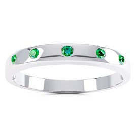 Unity Emerald Platinum plated Silver Promise Ring Band