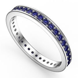 Promise Sapphire Platinum Plated Silver Channel Full Eternity Ring