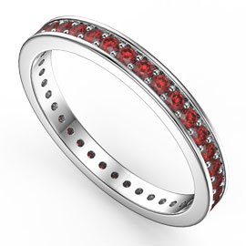 Promise Ruby 18ct White Gold Channel Full Eternity Ring