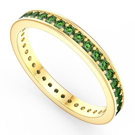 Promise Emerald 18ct Yellow Gold Channel Full Eternity Ring