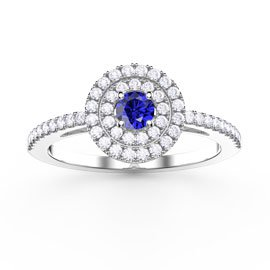 Fusion Sapphire Double Halo Platinum plated Silver Ring