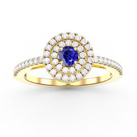 Fusion Sapphire Double Halo 18ct Gold Vermeil Ring