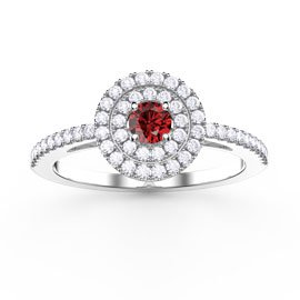Fusion Ruby Double Halo Platinum plated Silver Ring