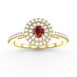 Fusion Ruby Double Halo 18ct Gold Vermeil Ring