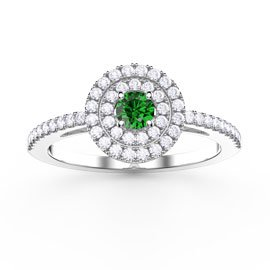 Fusion Emerald Double Halo Platinum plated Silver Ring