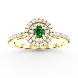 Fusion Emerald Double Halo 18ct Gold Vermeil Ring
