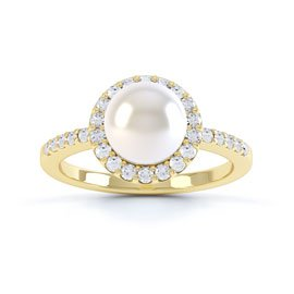 Venus Pearl Halo 18ct Yellow Gold Engagement Ring