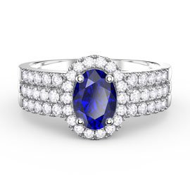 Eternity Oval Sapphire Halo and Half Eternity Platinum plated Silver Promise Ring Set