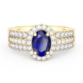Eternity Oval Sapphire Halo 18ct Gold Vermeil Promise Ring with Half Eternity Wedding Band