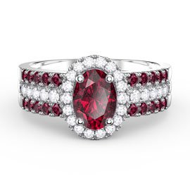 Eternity Oval Ruby Halo and Half Eternity Platinum plated Silver Promise Ring Set