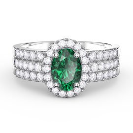 Eternity Oval Emerald Halo and Half Eternity Platinum plated Silver Promise Ring Set