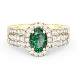 Eternity Oval Emerald Halo and Half Eternity 18ct Gold Vermeil plated Silver Promise Ring Set