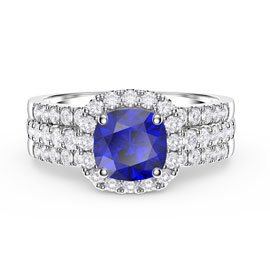 Princess Cushion Sapphire Halo and Half Eternity Platinum plated Silver Promise Ring Set
