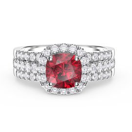 Princess Cushion Ruby Halo and Half Eternity Platinum plated Silver Promise Ring Set