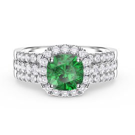 Princess Emerald Cushion Cut Halo and Half Eternity Platinum plated Silver Promise Ring Set