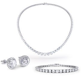 Eternity Diamond CZ Rhodium plated Silver Jewelry Set